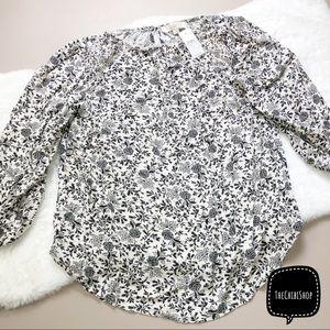 LOFT smocked floral black white top